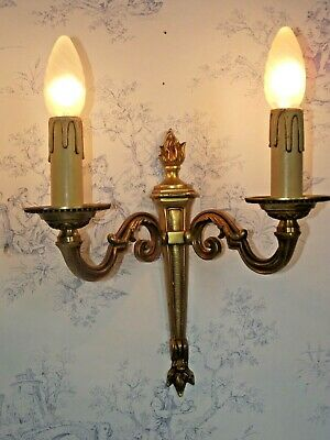 Antique French Double Brass Traditional Empire Style Flame Wall Sconce 1297
