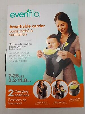 Evenflo Breathable Baby Carrier: Black/Grey/Yellow | 7-26lbs