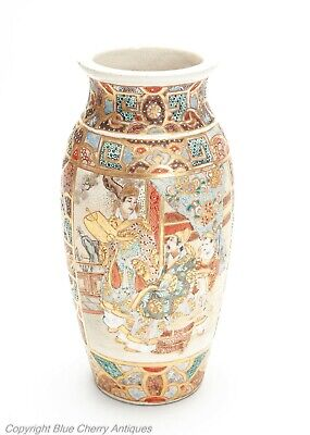 Antique Japanese Satsuma Ware Pottery Vase with Intricate Patterns & Figures