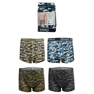 12 Men Classic Underwear Sports Cotton Boxer Shorts Trunks Army Camouflage S-2XL