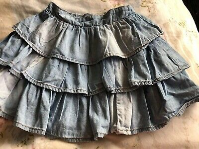 Next Girls Light Blue Washed Denim Frill Raa Raa Skirt Age 5 Years