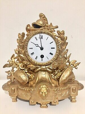 Antique French Gilt Spelter Timepiece Mantle Clock.