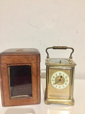 Antique French Striking Repeater Carriage Clock With Leather Case.