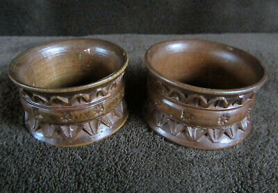 Pair Antique Carved Wood Black Forest Swiss Napkin Rings