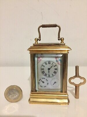 Vintage Rare Miniature Date And Calendar Porcelain Panelled Carriage Clock.