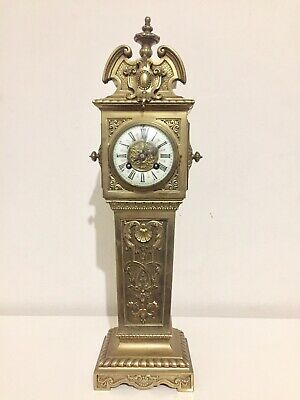 Rare Antique French Gilt Bronze Miniature Grandfather Clock. C1890