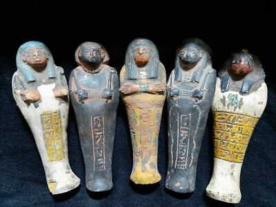 ANCIENT EGYPTIAN ANTIQUES 5 USHABTI SHABTI With Hieroglyphics Egypt Stone BC
