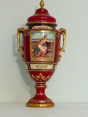 Antique Royal Bonn Germany Portrait Porcelain Urn Vase w Gold Handles & Lid Top