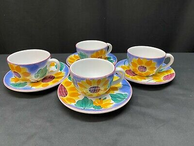"Herend Village Pottery ""SUNFLOWER"" ~ Set of 4 ~ Cups & Saucers ~ 2 1/4"" Tall"