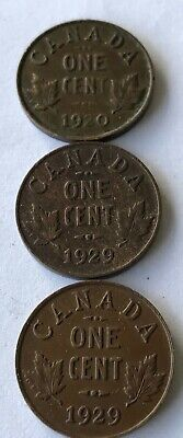 Set of Six one cent coins from Canada.1913 to 1929.Circulated.