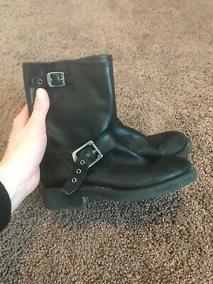 Frye Girls Black Moto Ankle Boots Engineer Pull On Leather Buckle Size 13