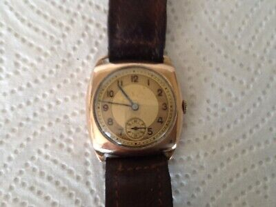 Cushion watch Solid Gold 9k manual winding Vintage Gentlemens, Swiss made.