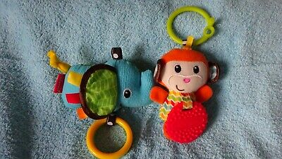 Monkey And Elephant Pram Hanger's And Teether Vgc Clean Condition