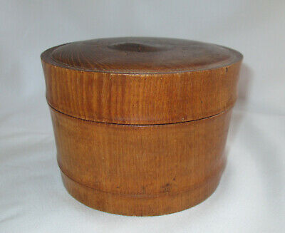 Antique Primitive Treen Turned Wood Lidded Pantry Box