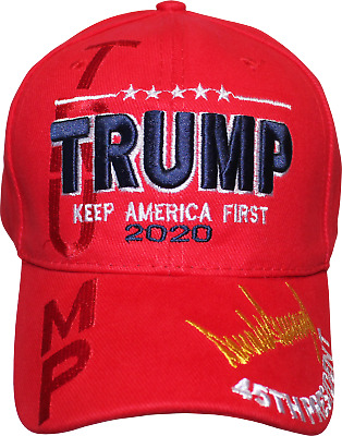 Embroidered In Shadow Trump 2020 Keep America Great Red Hat Baseball Cap New!