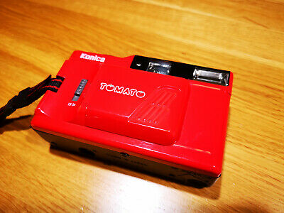 red Konica Tomato / POP-10 - compact 35mm film camera mde in Japan