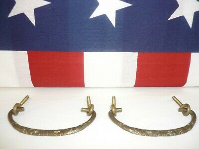 2 Antique Solid Brass Drawer Pulls Drop Handles Ornate Cast Relief