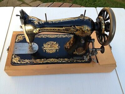 Old Antique 1902 Singer sewing machine with rare Sphinx decals. Superb!