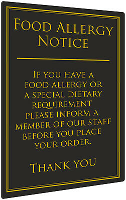 Food Allergy Sign Pub Bar Restaurant Notice Allergen Warning Law Sign Black