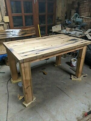 reclaimed Solid Oak Hand Made Table with / pitch pine legs very old wood