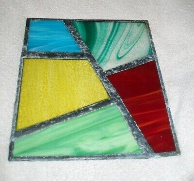 Antique Leaded Stained Glass Panel Vintage Stain Window Coloured Architectural