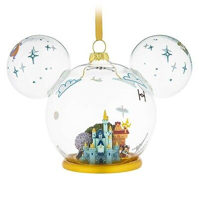New Disney World Parks 2019 Mickey Mouse Icon Glass Christmas Ornament