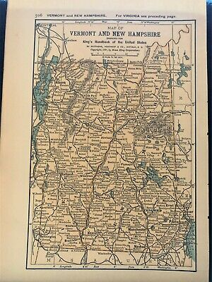 Authentic 1891 Color Map ~ VERMONT & NEW HAMPSHIRE ~ Great Detail ~ RARE