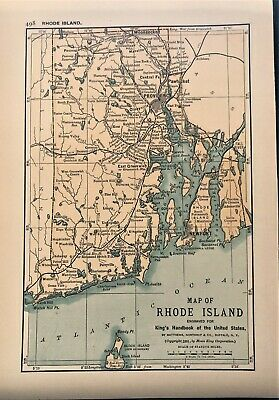 Authentic 1891 Color Map ~ RHODE ISLAND ~ Great Detail ~ RARE