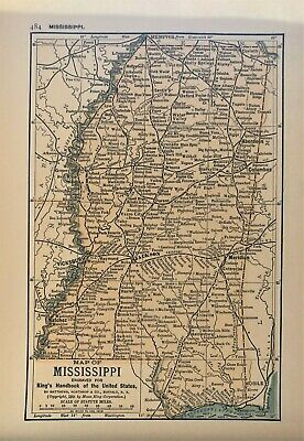 Authentic 1891 Color Map ~ State of MISSISSIPPI ~ Great Detail ~ Original ~ RARE