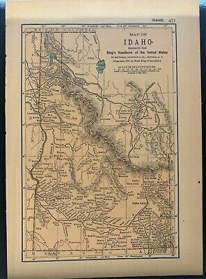 Authentic 1891 Color Map ~ State of  IDAHO ~ Great Detail ~ Original ~ RARE
