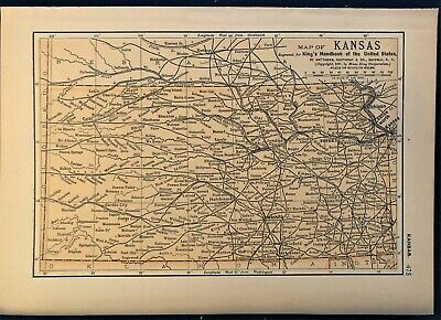 Authentic 1891 Color Map ~ State of  KANSAS ~ Great Detail ~ Original ~ RARE