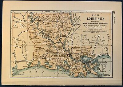 Authentic 1891 Color Map ~ State of  LOUISIANA ~ Great Detail ~ Original ~ RARE