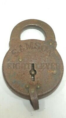 Antique Old Vintage Padlock Samson 8 Lever Rusty, with no Key to tested