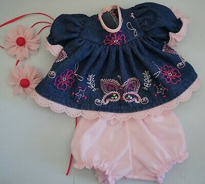 My Child Doll Embroidered Denim Dress - Panties - Barrettes -Note Please Read