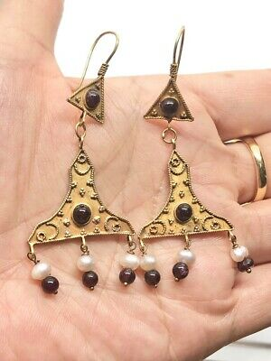 (5.14g)Ancient ROMAN EARRINGS Hight Garat Gold DECORATED pearl,garnet #2