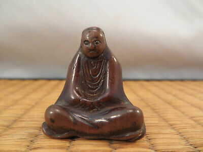 Antique Japanese Wood Netsuke of Seated Daruma Edo 1603-1868 Japan 1 1/4""