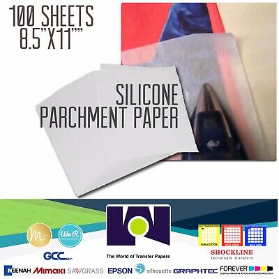 "Silicone Parchment Paper for Heat Transfer Applications 8.5""x11"" 100 SHEETS USA"