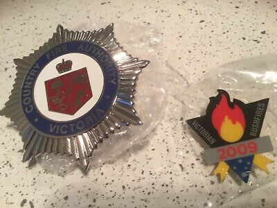 CFA Hat Cap Badge Country Fire Authority + Black Saturday firefighter badge