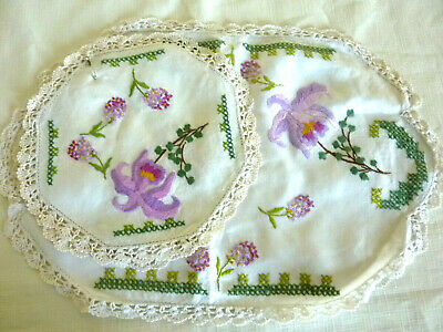 Vintage Hand Embroidered Doilies Duchess Set Floral Lilies