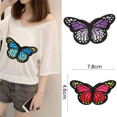 5PCS Embroidery Butterfly Embroidered Sew On Patch Badge Fabric Applique  ZSR8Y