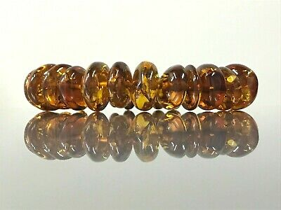 With Small Insect AMBER BRACELET Natural BALTIC AMBER Beads Jewelry 24,5g 10229