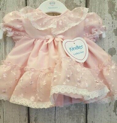 Beautiful Baby Girl Kinder Collection Spanish / Romany Style Pink Dress.