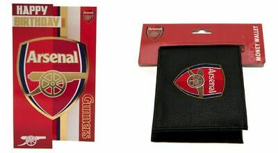 ARSENAL Birthday Card & Football Club Crest Leather Wallet
