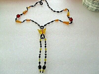 Lovely Vintage Art Deco? Black Glass Amber Hand Knotted Necklace,Long Pendant