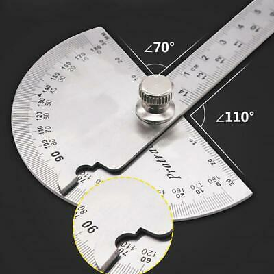 UK Stainless Steel Angle Ruler 180° Protractor Round Finder Arm Measuring Tool