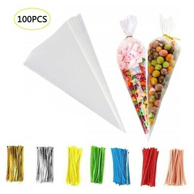 100PCS CLEAR CELLOPHANE CONE BAGS BAG Sweet Candy Kids Party Favour Cones cello