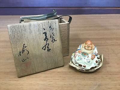 Y0868 BOX Kyo-ware Hotei signed box Japanese incense container antique aroma