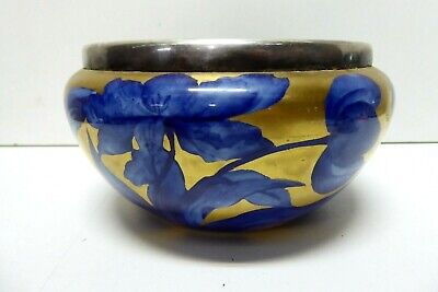 Antique Gold Bowl Flo Blue Hand Painted Flowers Silver Plated Metal Rim
