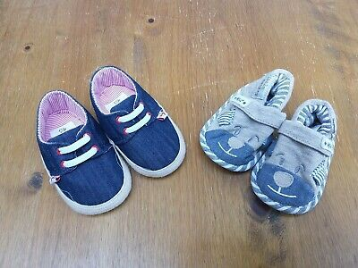 2x Pairs of Boys Baby Shoes from John Lewis & Next, Age 0-3 Months