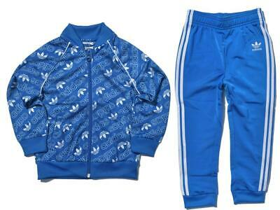 adidas ORIGINALS KIDS SUPERSTAR MONOGRAM TRACKSUIT BLUE RETRO VINTAGE BOYS GIRLS